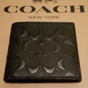 Coach Mens Signature ID Wallet